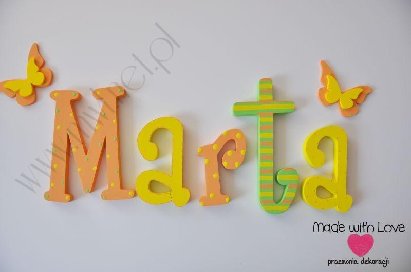 Literki imię dziecka na ścianę do pokoju - 3d 25 cm - wzór MWL11 marta martusia