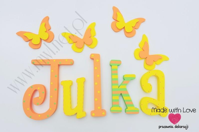 Literki imię dziecka na ścianę do pokoju - 3d 25 cm - wzór MWL11 julia julka julcia