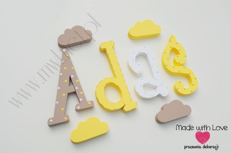 Literki imię dziecka na ścianę do pokoju - 3d 25 cm - wzór MWL14 adam adaś