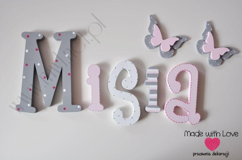 Literki imię dziecka na ścianę do pokoju - 3d 25 cm - wzór MWL16 misia michasia michalina