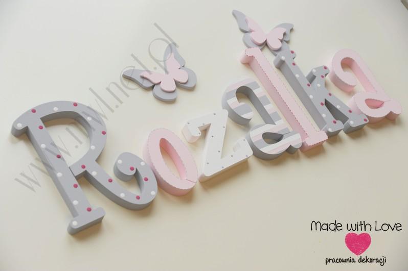 Literki imię dziecka na ścianę do pokoju - 3d 25 cm - wzór MWL16 rozalia rozalka