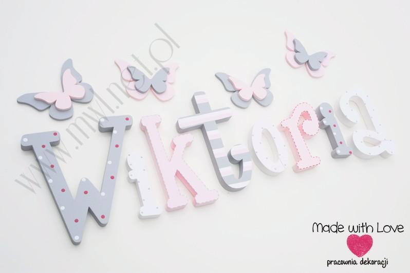 Literki imię dziecka na ścianę do pokoju - 3d 25 cm - wzór MWL16 wiki wiktoria