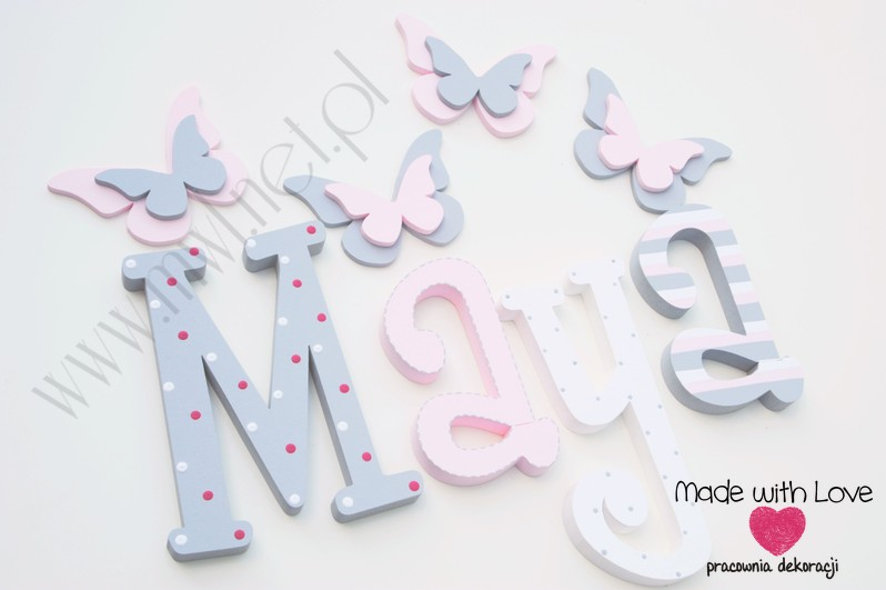 Literki imię dziecka na ścianę do pokoju - 3d 25 cm - wzór MWL16 maya