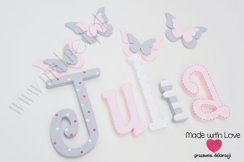 Literki imię dziecka na ścianę do pokoju - 3d 25 cm - wzór MWL16 julia julka julcia