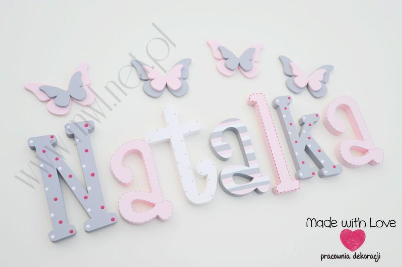 Literki imię dziecka na ścianę do pokoju - 3d 25 cm - wzór MWL16 natalia nati natalka natka