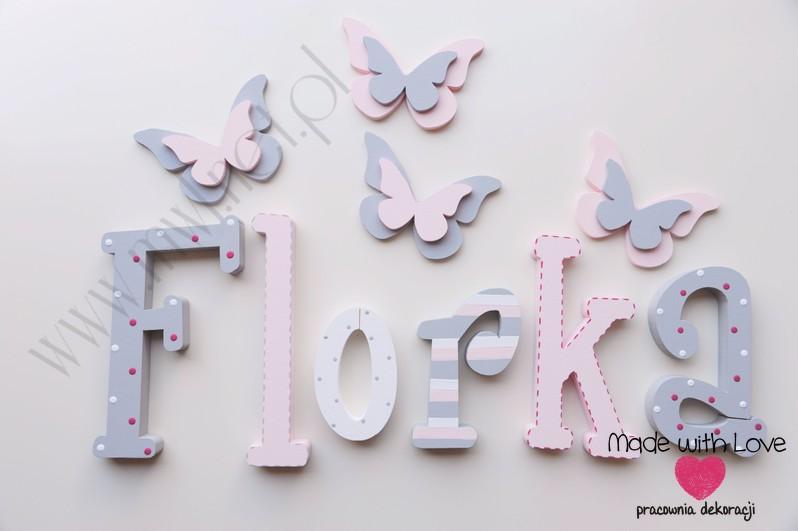 Literki imię dziecka na ścianę do pokoju - 3d 25 cm - wzór MWL16 florentyna florka
