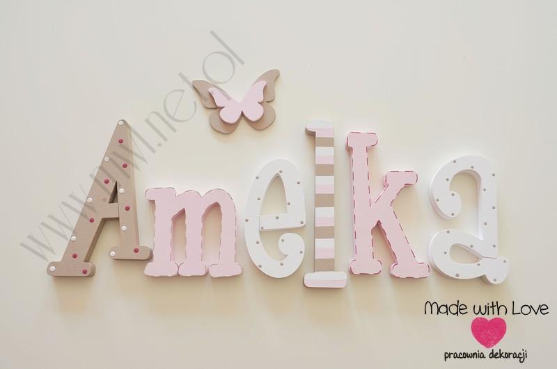 Literki imię dziecka na ścianę do pokoju - 3d 25 cm - wzór MWL20 amelka amelia mela
