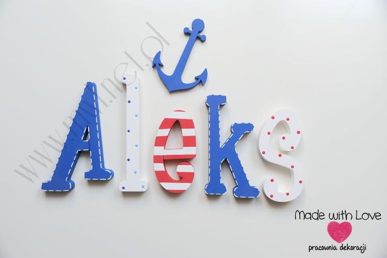 Literki imię dziecka na ścianę do pokoju - 3d 25 cm - wzór MWL23 aleks aleksander marine marynistyczny morski