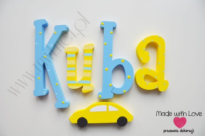 Literki imię dziecka na ścianę do pokoju - 3d 25 cm - wzór MWL24  kuba jakub kubuś