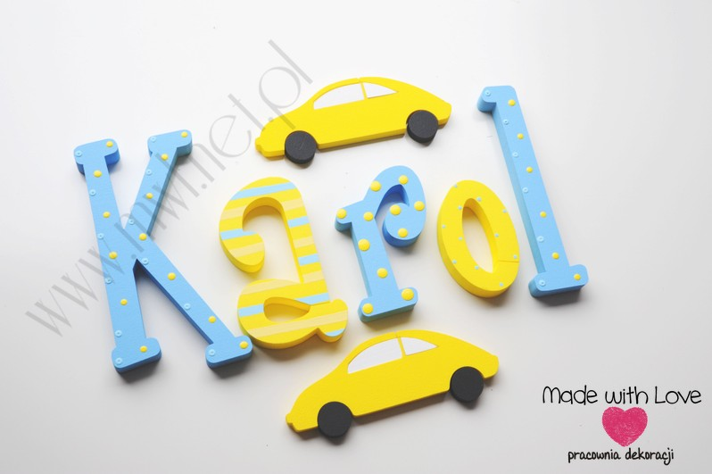 Literki imię dziecka na ścianę do pokoju - 3d 25 cm - wzór MWL24  karol karolek