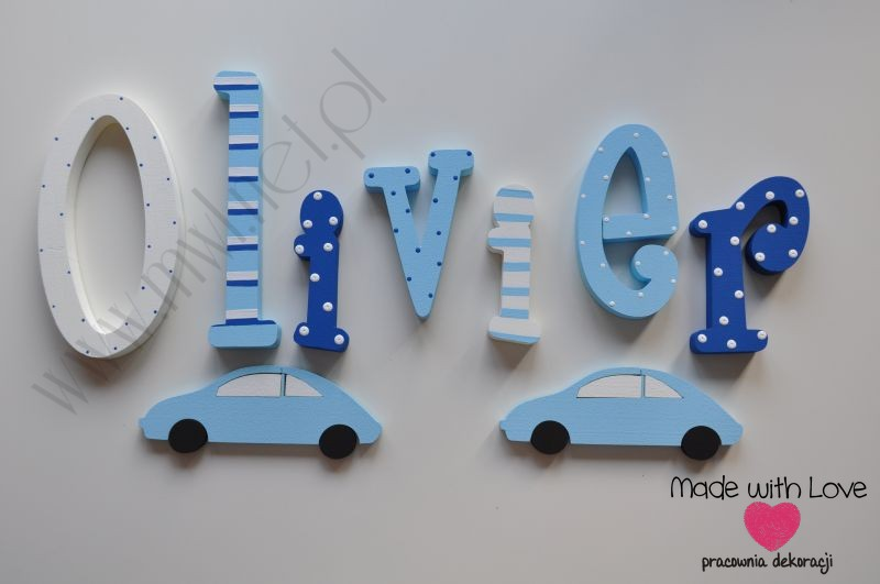 Literki imię dziecka na ścianę do pokoju - 3d 25 cm- wzór MWL26