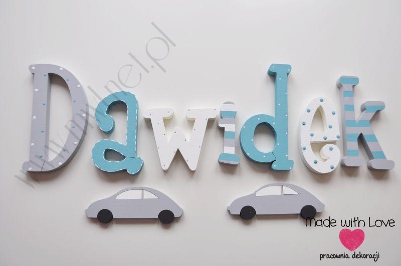 Literki imię dziecka na ścianę do pokoju - 3d 25 cm - wzór MWL27 dawidek dawid dawiś turkus szary