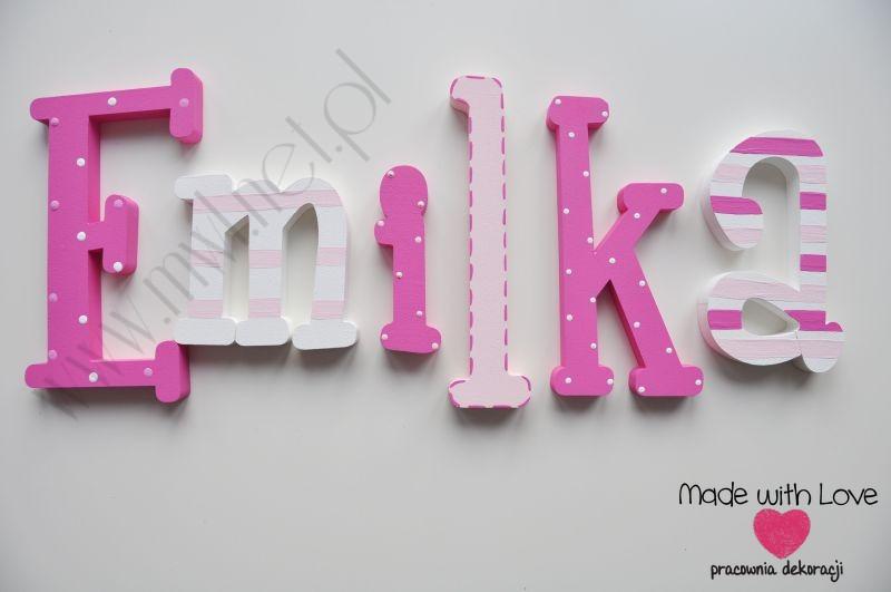 Literki imię dziecka na ścianę do pokoju - 3d 25 cm - wzór MWL34