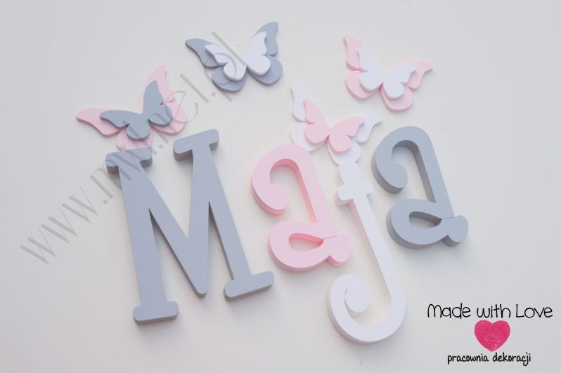 Literki imię dziecka na ścianę do pokoju - 3d 25 cm - wzór MWL37 maja majka szary różowy pastele
