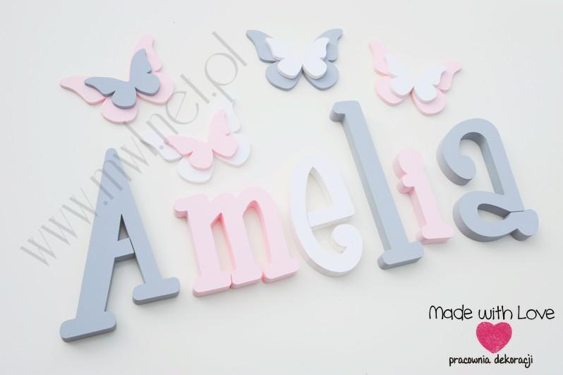 Literki imię dziecka na ścianę do pokoju - 3d 25 cm - wzór MWL37 amelia amelka ami amelcia szary różowy pastele