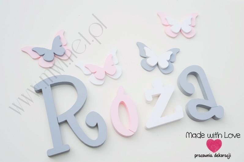 Literki imię dziecka na ścianę do pokoju - 3d 25 cm - wzór MWL37 róża różyczka szary różowy pastele