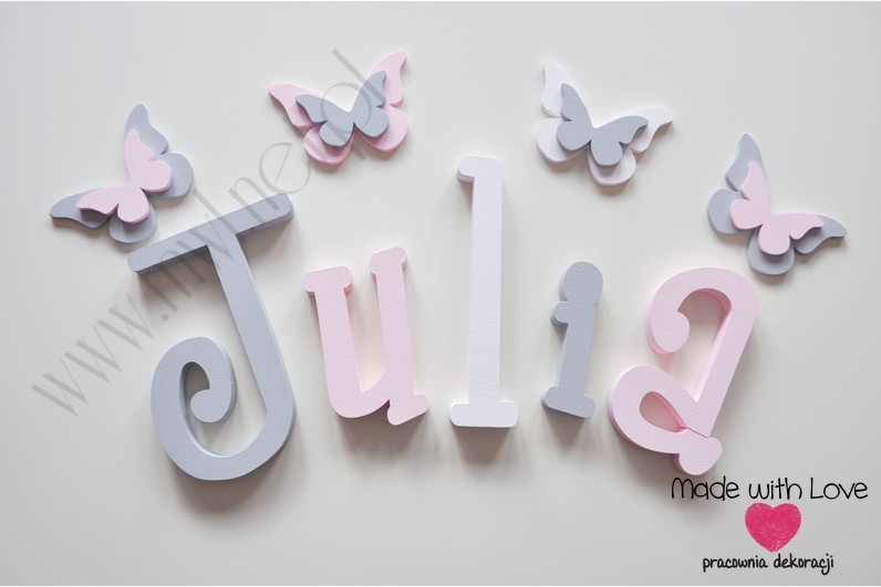Literki imię dziecka na ścianę do pokoju - 3d 25 cm - wzór MWL37 julia julka julcia szary różowy pastele