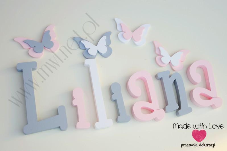 Literki imię dziecka na ścianę do pokoju - 3d 25 cm - wzór MWL37 lilianka lila lilka liliana lilianna szary różowy pastele