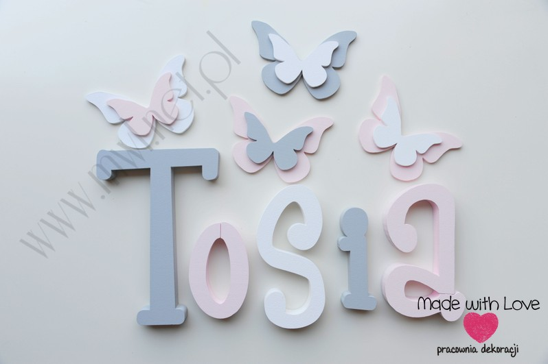 Literki imię dziecka na ścianę do pokoju - 3d 25 cm - wzór MWL37 tosia antosia antonina szary różowy pastele