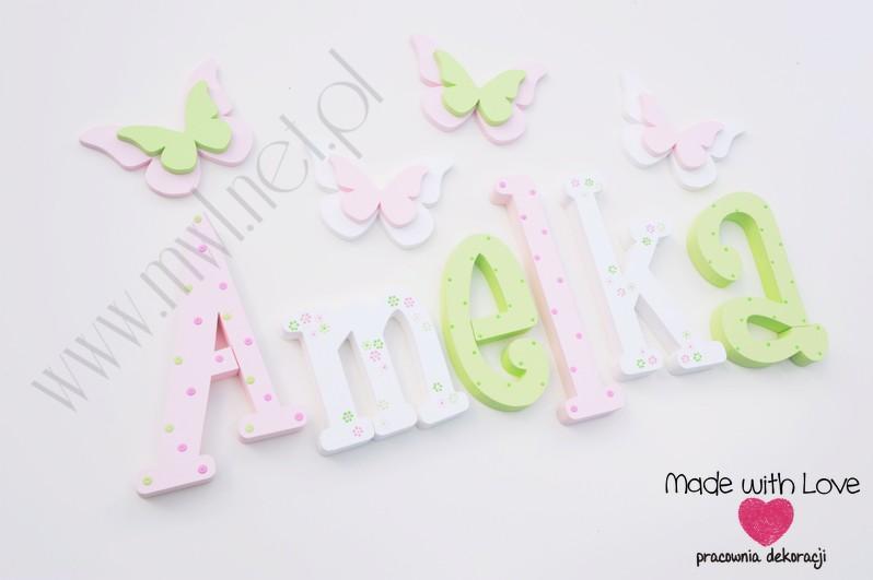 Literki imię dziecka na ścianę do pokoju - 3d 25 cm - wzór MWL38 amelka amelia mela amelcia