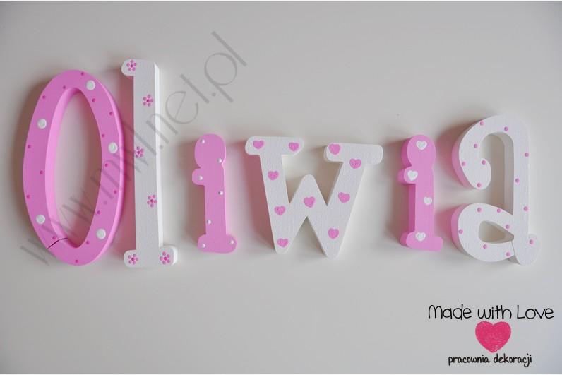 Literki imię dziecka na ścianę do pokoju - 3d 25 cm  - wzór MWL41 oliwia oliwka oliwcia róż różowy