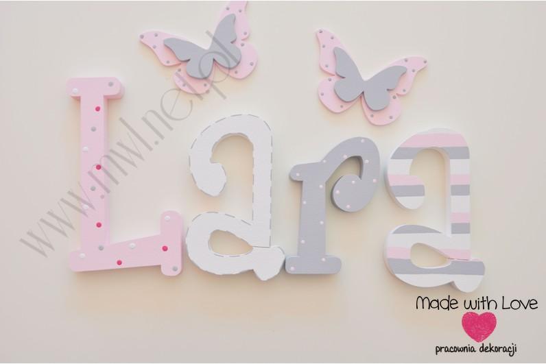 Literki imię dziecka na ścianę do pokoju - 3d 25 cm - wzór MWL42 lara pastele róż szary