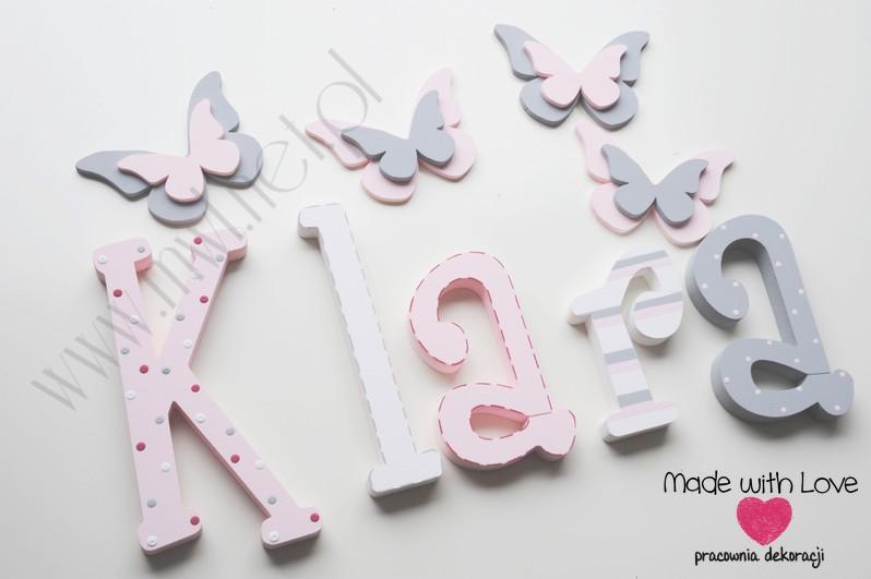 Literki imię dziecka na ścianę do pokoju - 3d 25 cm - wzór MWL42 klara klarcia pastele róż szary