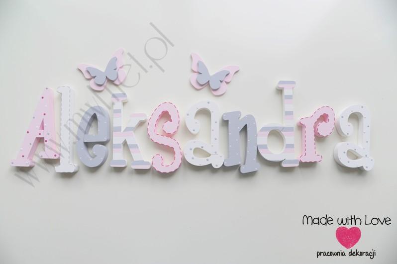 Literki imię dziecka na ścianę do pokoju - 3d 25 cm - wzór MWL42 ola olcia olusia olunia oleńka aleksandra pastele róż szary