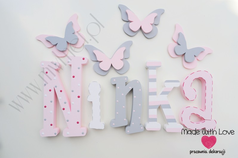 Literki imię dziecka na ścianę do pokoju - 3d 25 cm - wzór MWL42 ninka nina pastele róż szary