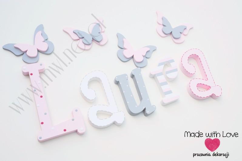 Literki imię dziecka na ścianę do pokoju - 3d 25 cm - wzór MWL42 laura laurka pastele róż szary