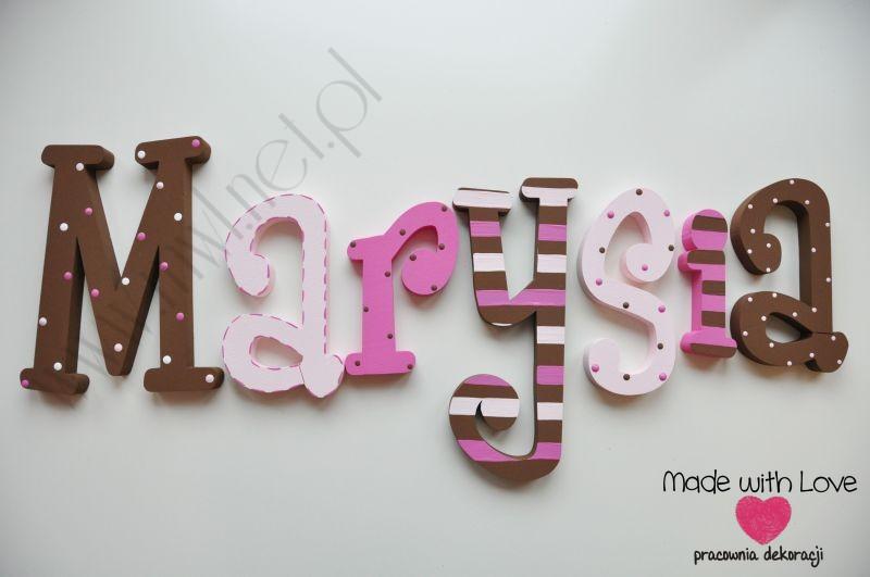 Literki imię dziecka na ścianę do pokoju - 3d 25 cm - wzór MWL47