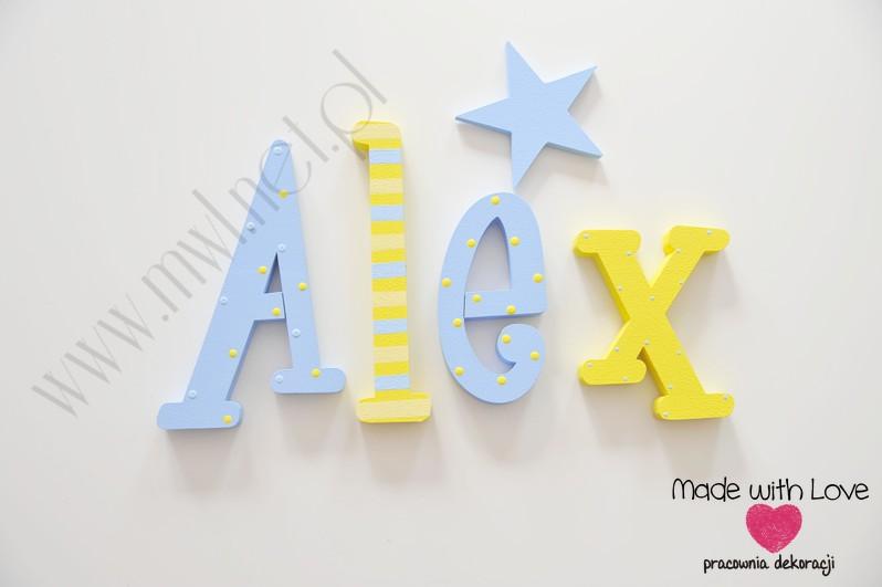 Literki imię dziecka na ścianę do pokoju - 3d - wzór MWL24 alex alexander żółty niebieski