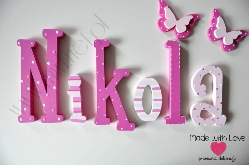 Literki imię dziecka na ścianę do pokoju - 3d 25 cm - wzór MWL59 nikola niki nikolka