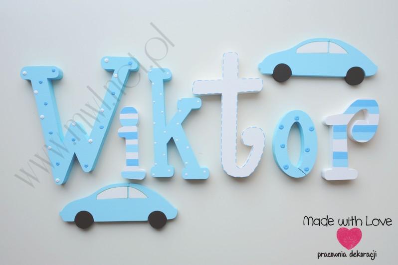 Literki imię dziecka na ścianę do pokoju - 3d - wzór MWL25 wiktor wiktorek niebieski biały