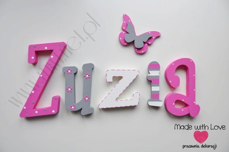 Literki imię dziecka na ścianę do pokoju - 3d 25 cm - wzór MWL69 zuzia zuzka zuzanna zuza