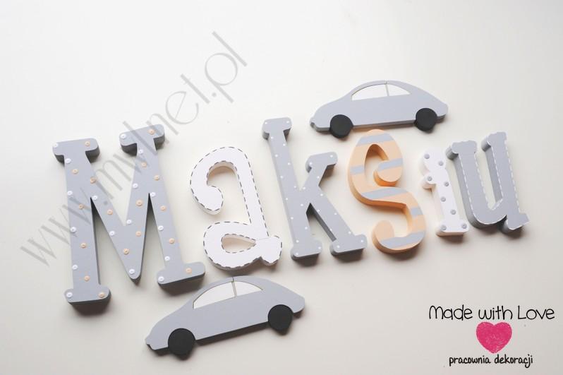 Literki imię dziecka na ścianę do pokoju - 3d 25 cm - wzór MWL73 maks maksiu maksymilian beż szary