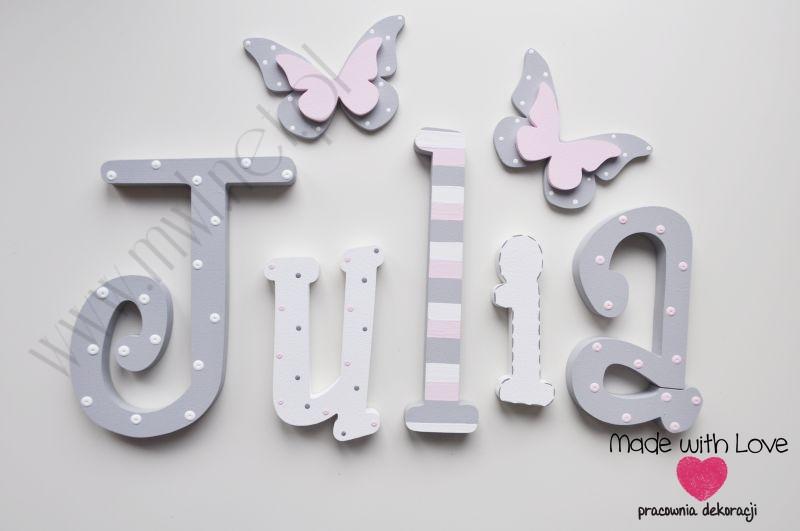 Literki imię dziecka na ścianę do pokoju - 3d 25 cm - wzór MWL74 julia julka julcia