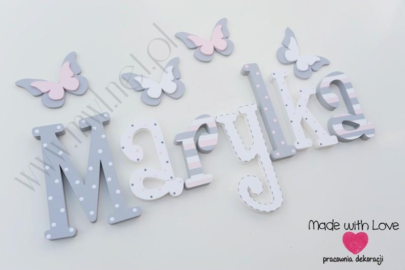 Literki imię dziecka na ścianę do pokoju - 3d 25 cm - wzór MWL74 maryla marylka