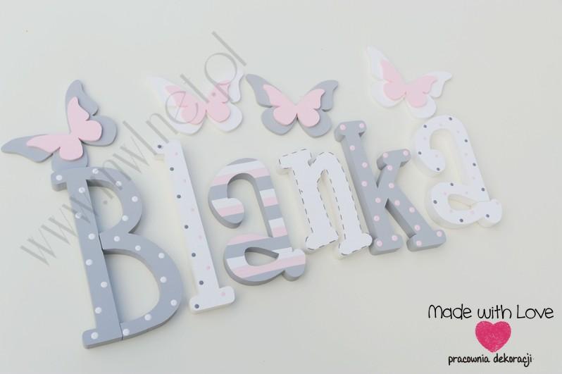 Literki imię dziecka na ścianę do pokoju - 3d 25 cm - wzór MWL74 blanka blania blanusia