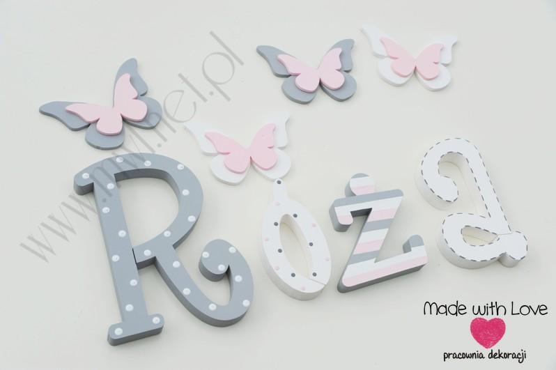 Literki imię dziecka na ścianę do pokoju - 3d 25 cm - wzór MWL74 róża różyczka