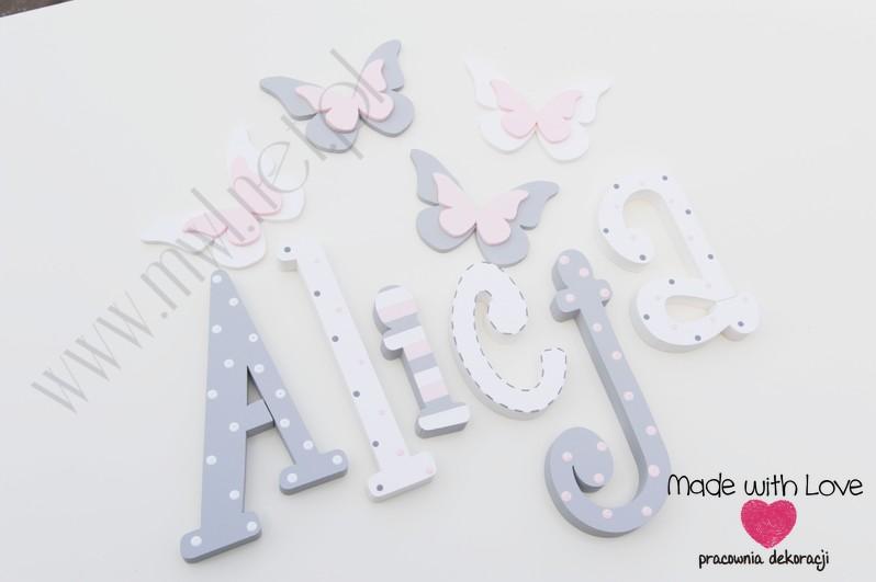 Literki imię dziecka na ścianę do pokoju - 3d 25 cm - wzór MWL74 ala alicja