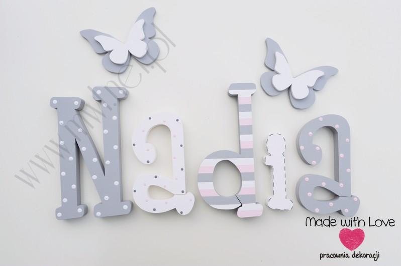 Literki imię dziecka na ścianę do pokoju - 3d 25 cm - wzór MWL74 nadia nadusia nadka nadunia dusia