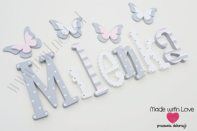 Literki imię dziecka na ścianę do pokoju - 3d 25 cm - wzór MWL74 milena milenka