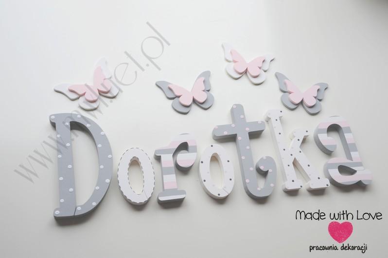 Literki imię dziecka na ścianę do pokoju - 3d 25 cm - wzór MWL74 dorota dorotka