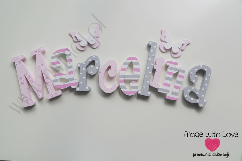 Literki imię dziecka na ścianę do pokoju - 3d 25 cm - wzór MWL75 marcelka marcelina cysia