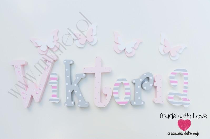 Literki imię dziecka na ścianę do pokoju - 3d 25 cm - wzór MWL75 wiki wiktoria