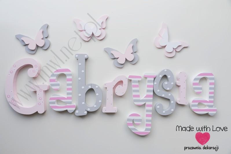 Literki imię dziecka na ścianę do pokoju - 3d 25 cm - wzór MWL75 gabi gabrysia