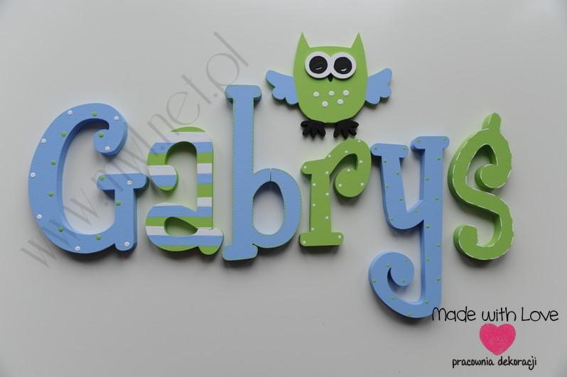 Literki imię dziecka na ścianę do pokoju - 3d - wzór MWL28 gabryś gabrysiek gabriel zielony niebieski