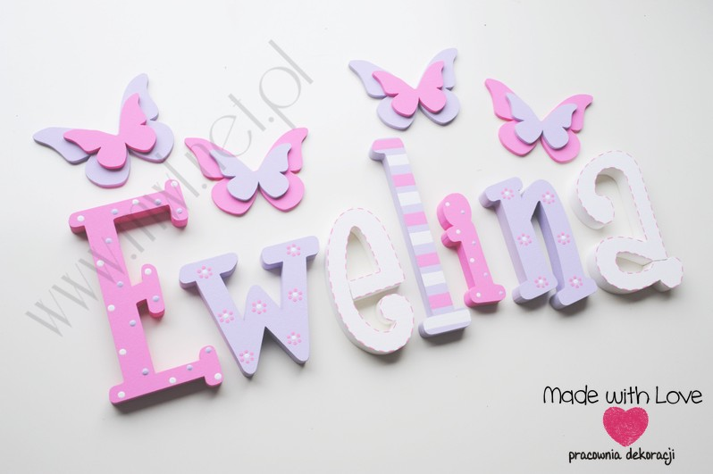 Literki imię dziecka na ścianę do pokoju - 3d 25 cm - wzór MWL79 ewelina ewelinka