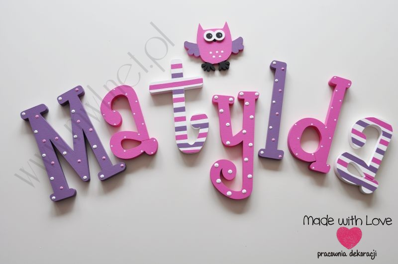 Literki imię dziecka na ścianę do pokoju - 3d 25 cm - wzór MWL84